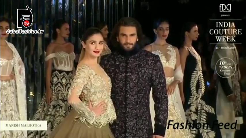 Alia Bhatt & Ranveer Singh Walk For Manish Malhotra India Couture Week 2017